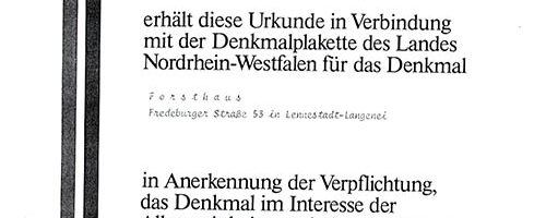 Forsthaus Langenei1.Urkunde